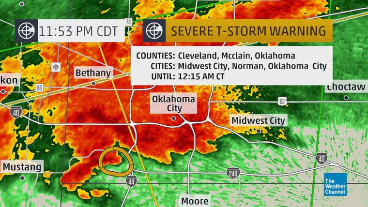 Storm warnings around Oklahoma City.