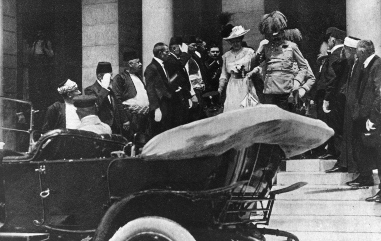 Image: Archduke Franz Ferdinand and his wife, Czech Countess Sophie Chotek, leave City Hall on June 28, 1914. A short time later the couple were assassinated by a Serb nationalist.