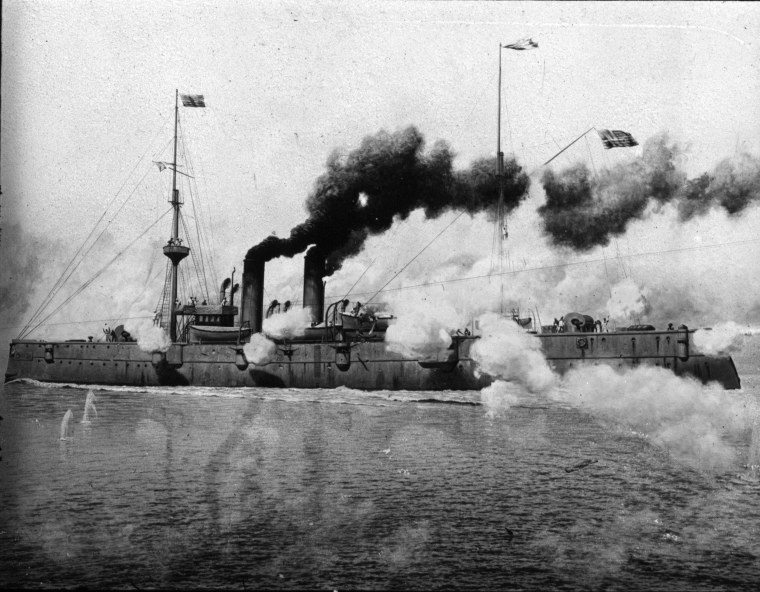 The U.S.S. Raleigh in action, 1898.