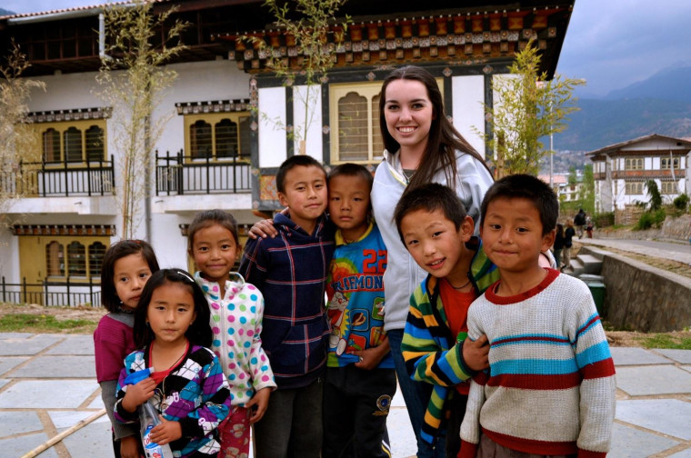 Image: Claire Thomsen and villages in Bhutan