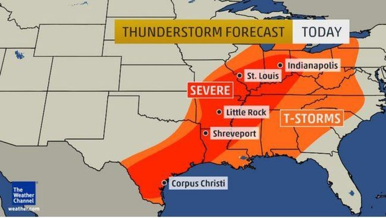 Map of thunderstorm threat from Texas to Illinois on Friday.