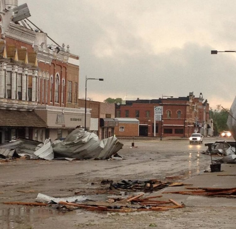 Image: A suspected tornado caused damage in Sutton, Neb., on Sunday