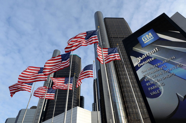 The General Motors headquarters in the Renaissance Center is viewed in this January 14, 2014 file photo in Detroit, Michigan.