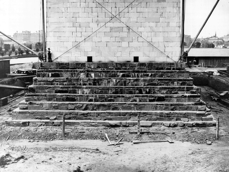 Construction of the foundation of the Washington Monument in August of 1879