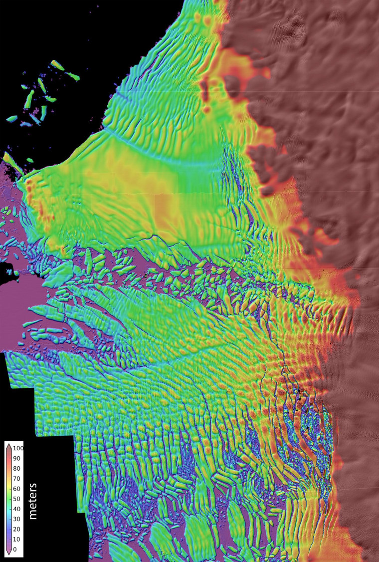 A high-resolution radar map shows Thwaites Glacier's thinning ice shelf. Warm circumpolar deep water is melting the underside of this floating shelf, leading to a speedup in the glacier's retreat. This glacier now appears to be in the early stages of collapse, with full collapse potentially occurring within a few centuries.