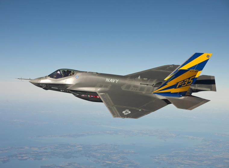 Image: The F-35C Joint Strike Fighter during a test flight over the state of Maryland.