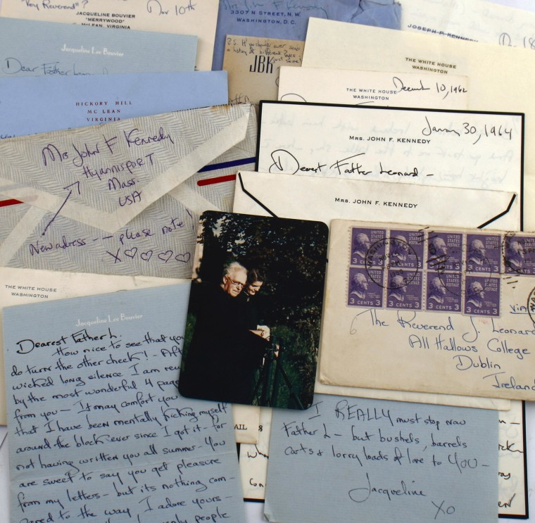 Some of the correspondence between Jackie Kennedy and Father Joseph Leonard that will be auctioned next month.