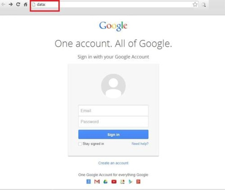Image: Fake Google sign-in page