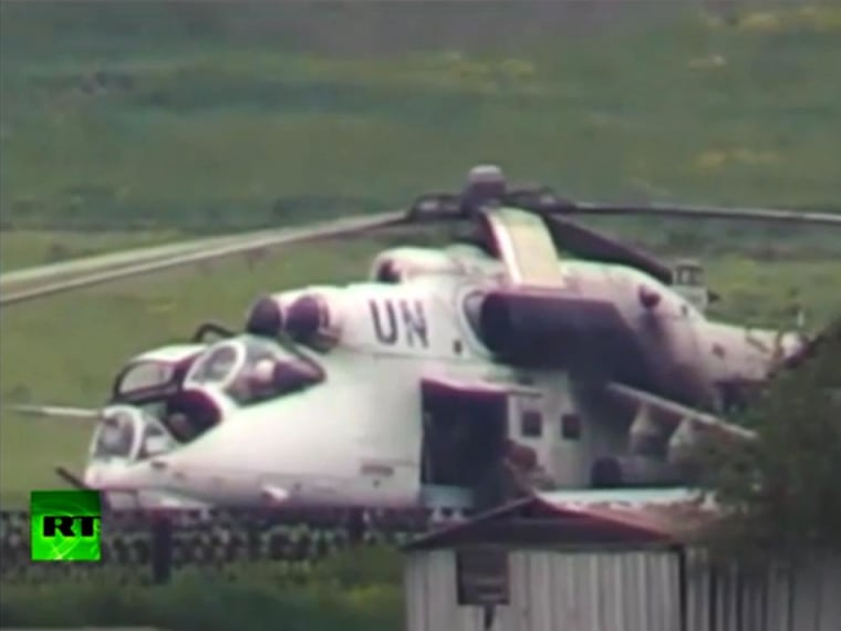 Video still of helicopter with United Nations markings allegedly assisting government troops in eastern Ukraine.