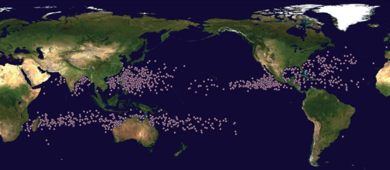 The locations of hurricanes and typhoons at their peak intensity are shown as dots on this map covering the period between 1982 and 2012.