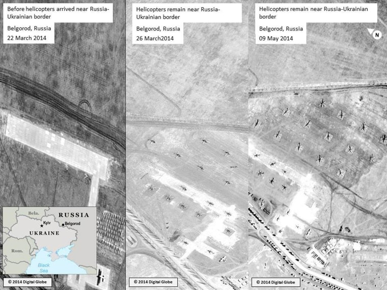 Image: Satellite images said to show Russian troops gathering near the Ukrainian border is seen in this handout released by the U.S. mission to NATO