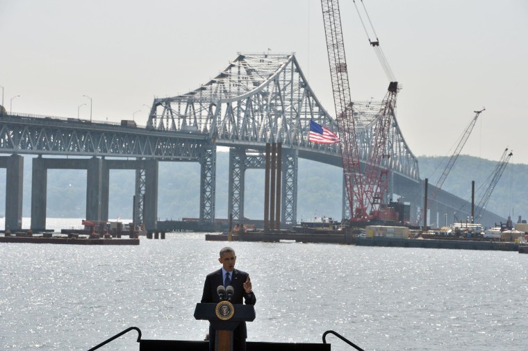 "Standing on stage with a backdrop of the Tappan Zee bridge, US President Barack Obama speaks on the need for a ""21st Century Transportation Infrastructure"" in Tarrytown, New York, on May 14, 2014. AFP PHOTO/Jewel SamadJEWEL SAMAD/AFP/Getty Images"