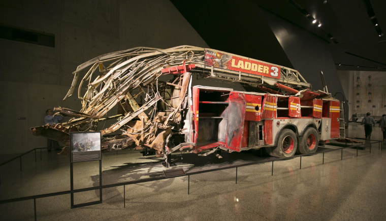 Image: FDNY Ladder 3 truck was crushed when the North Tower collapsed of Sept. 11, 2001. All 11 responding members of Ladder 3 were killed inside the tower. Their last reported position was on the 35th floor.