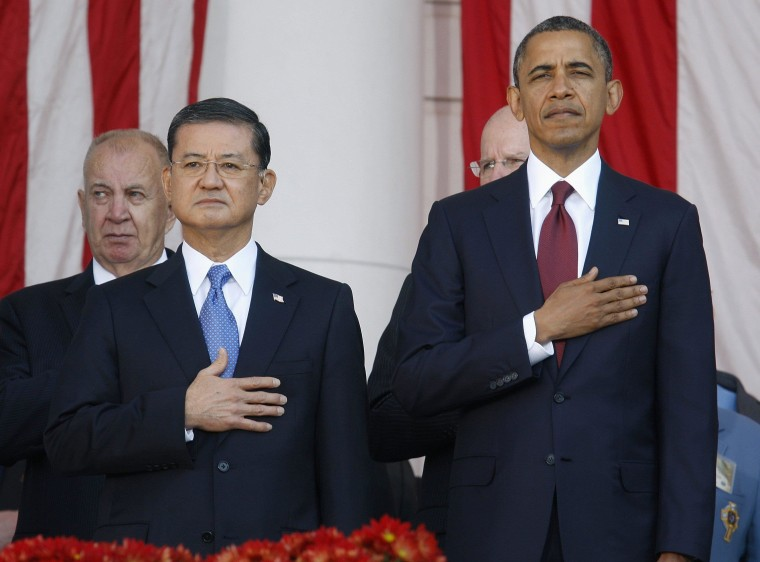 Image: File photo of U.S. Secretary of Veterans Affairs Shinseki with President Obama during Veterans Day ceremony at Arlington National Cemetery