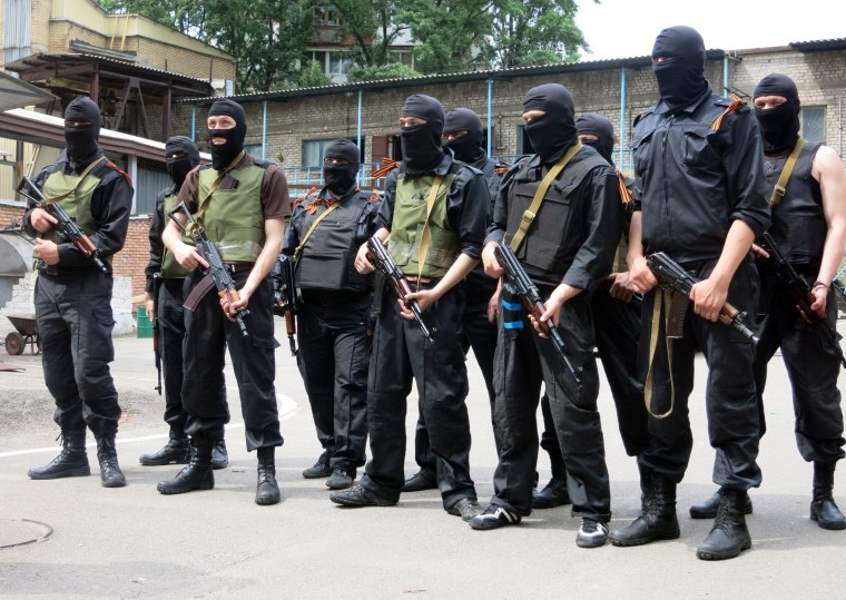 Members of the Russian Orthodox Army training in Donetsk, eastern Ukraine.