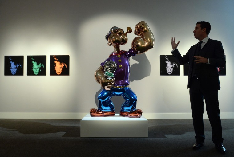 """Popeye"" by Jeff Koons is on display during a preview of Sotheby's contemporary art sale."