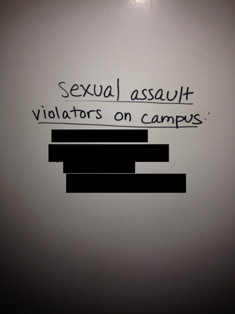 """The names of four male Columbia University students are repeatedly appearing on bathroom walls and on fliers at the campus by someone alleging they are """"sexual assault violators on campus."""""""