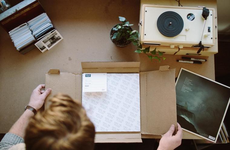 Unboxing a Vinyl Me, Please package.