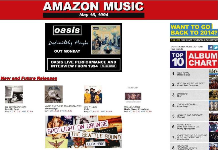 Amazon Music UK's retro homepage