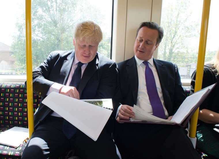Image: Mayor of London Boris Johnson and British Prime Minister David Cameron on May 12