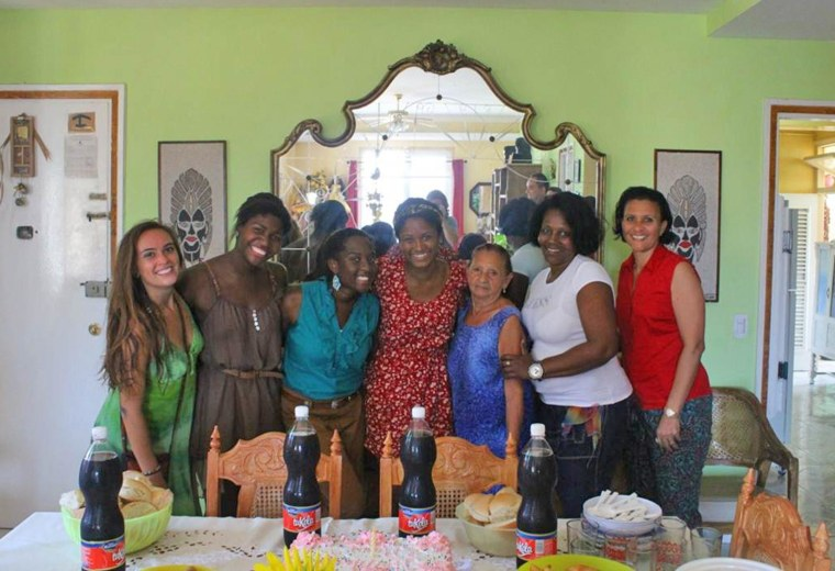 """Candace King and her Cuban """"family"""" and friends."""