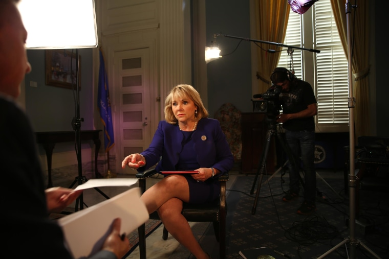 Image: Gov. Mary Fallin supports having local communities decide whether or not to fund tornado shelters in schools