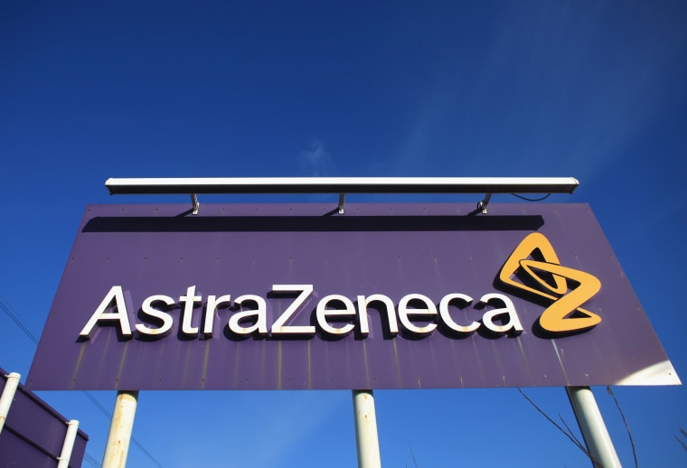 Image: A sign at the Macclesfield site of pharmaceutical company AstraZenica