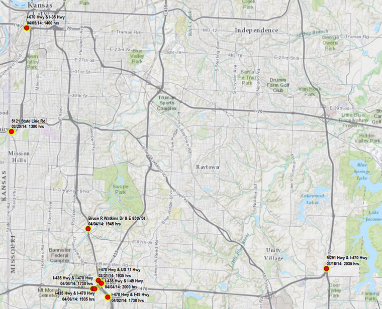 A map shows the locations and times where Mohammed P. Whitaker is alleged to have fired at vehicles on Kansas City area highways.