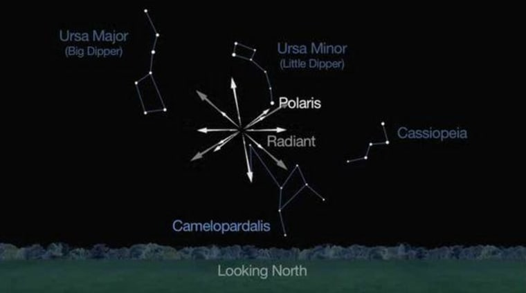 """Image: This sky map from a NASA video shows the location of the new """"Camelopardid"""" meteor shower."""