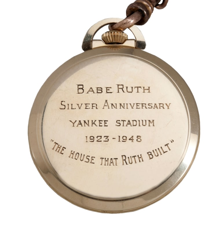 Babe Ruth's gold pocket watch sold for $650,000 at auction -- less than was expected.