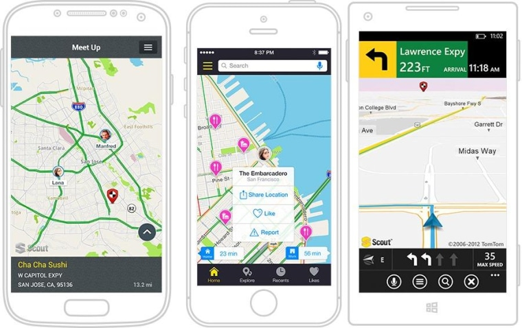 The Scout app, showing various views of OpenStreetMap data.