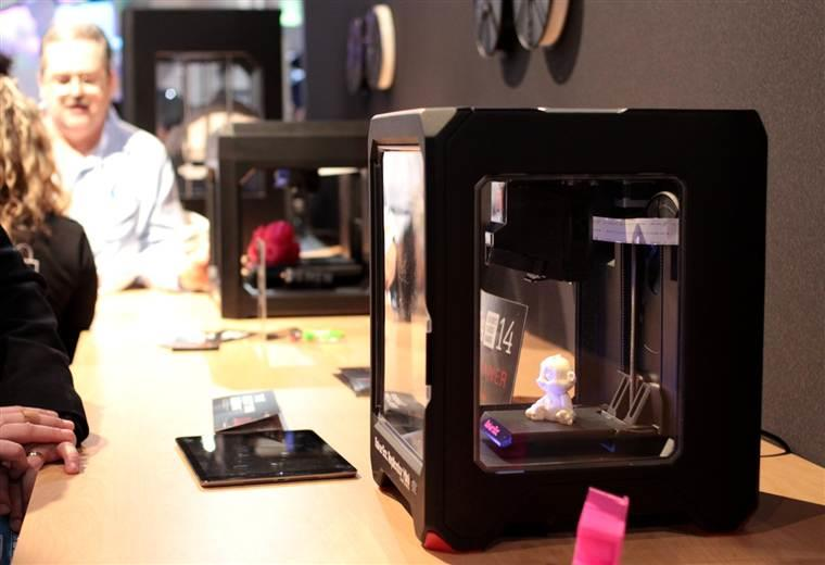 The Makerbot Replicator Mini on show at CES 2014 in Las Vegas.