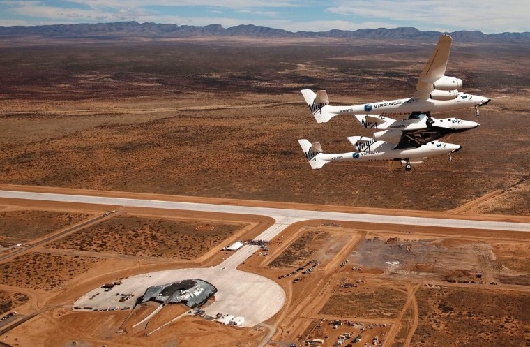Image: SpaceShipTwo and WhiteKnightTwo over Spaceport America