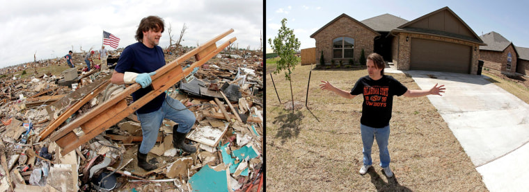 Image: In this photo combination, Kevin Kressler carries away debris at his tornado-ravaged home on May 25, 2013, in Moore, Okla. left. At right, Kressler stands for a photo in front of his new home on May, 8, 2014.