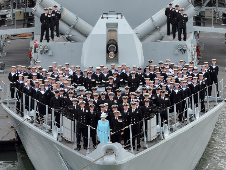 Queen Elizabeth II on board HMS Lancaster.
