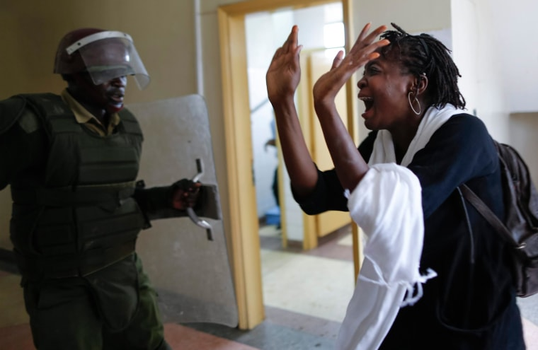 Image: Kenyan university students protest against proposed increase of school fee