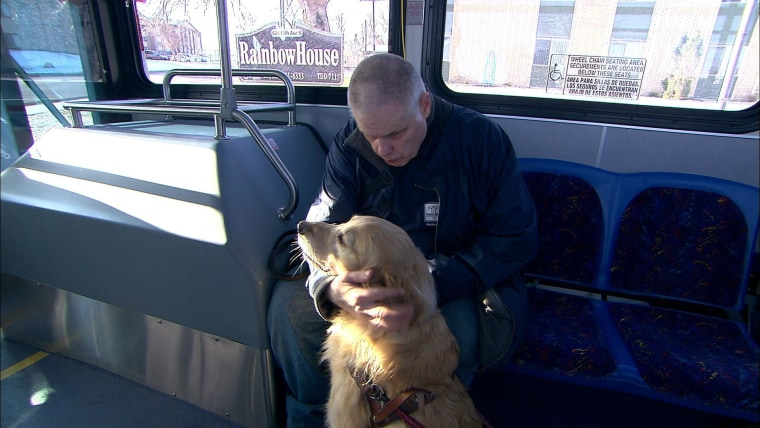 Harold Leigland with his guide dog on the way to work in Great Falls, Montana. The car service Uber is being probed in San Francisco over claims its drivers refuse to take service animals.