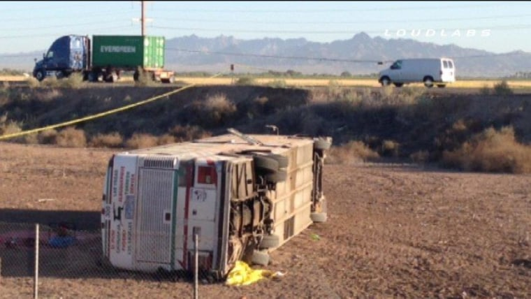 Image: Image: A bus collided with a big rig in Blythe, Calif., on Wednesday
