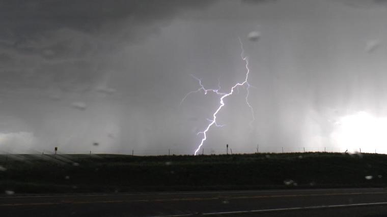 Image: Lightning strikes near Denver.
