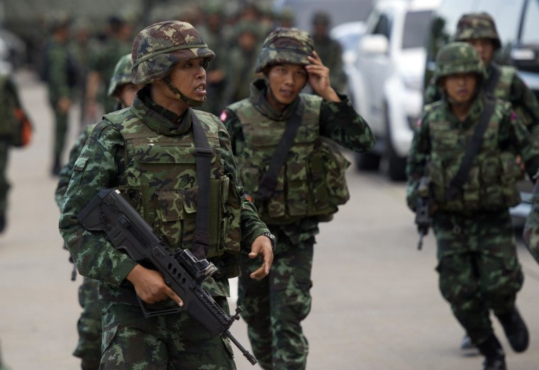 Image: Soldiers patrol in Bangkok on Thursday