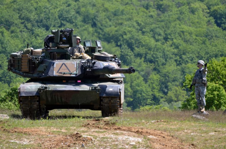 Image: Tanks at NATO exercise in Hohenfels, Germany
