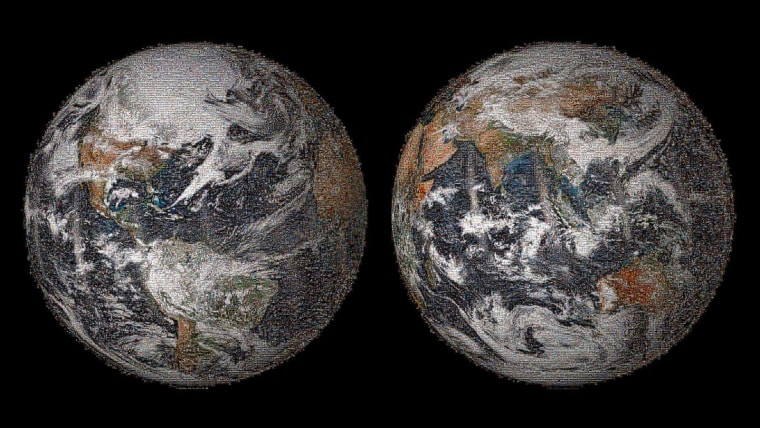 "Here's the global view of NASA's 3.2 billion-pixel ""Global Selfie"" mosaic. The full-resolution picture, hosted by GigaPan, was made with 36,422 individual images that were posted to social media sites on or around Earth Day, April 22, 2014."