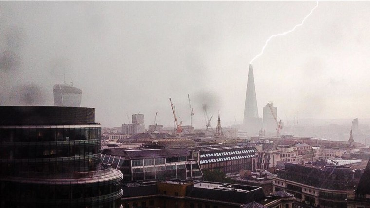 Image: The famous Shard skyscraper was struck by lighting in London