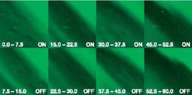 Images from the HAARP camera show speckle-like artificial optical emissions superimposed on the background natural aurora only during frames when the transmitter was on. The experiment was conducted on March 10, 2004.