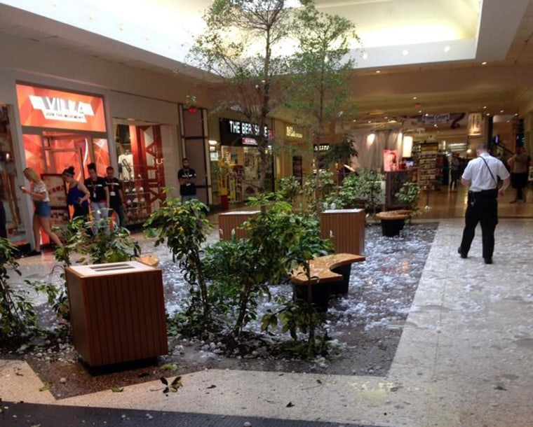 Image: Hail shattered a mall's skylight in Berks County.