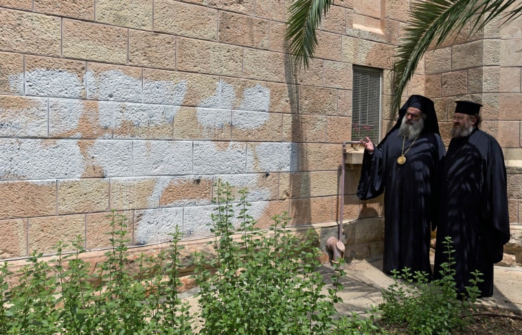 Image: Price tag graffiti hate on Romanian Church in Jerusalem before Pope Francis trip