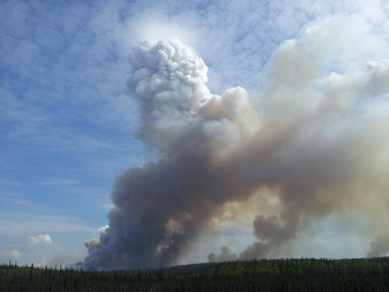 Smoke from the Funny River Fire pushing its way through the clouds above Kasilof on May 22.
