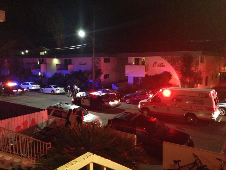 Police respond to a shooting rampage Friday night in Isla Vista, Calif., near UC Santa Barbara.
