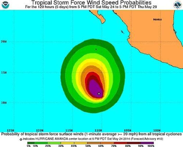 Image: Hurricane Amanda wind force probabilities