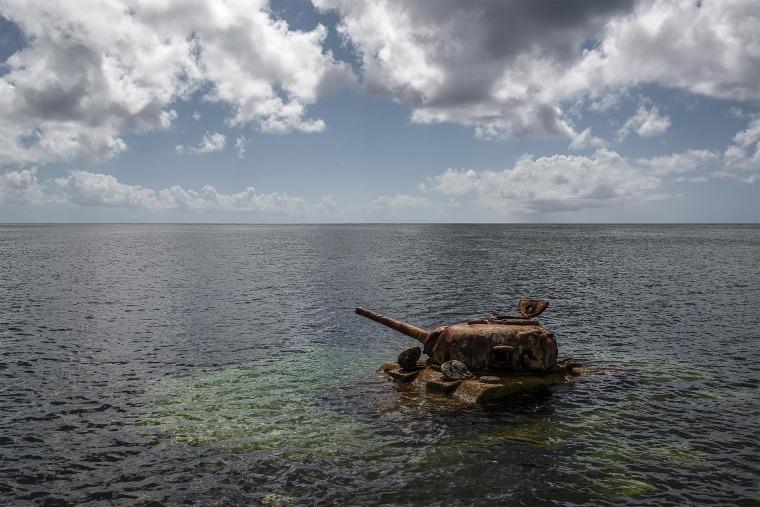 U.S. Sherman tank off the coast of Saipan